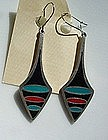 RARE STERLING & ENAMEL PAUL WARMIND EARRINGS...DENMARK