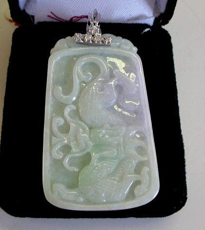 WHITE JADE DRAGON & PHOENIX PENDANT GOLD & DIAMOND BALE