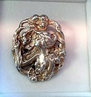 ART NOUVEAU STERLING BROOCH LADY & FLOWERS