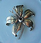 STERLING TASCO SIGNED MARICELA ORCHID BROOCH CA. 1950