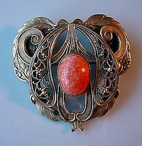 BEAUTIFUL ARTS & CRAFTS SASH PIN.. BEZELED ORANGE STONE