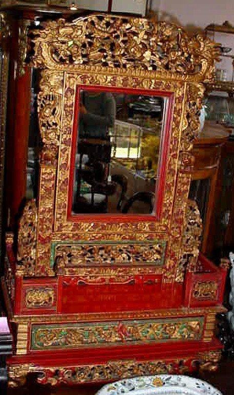ANTIQUE CARVED WOOD CHINESE TABLETOP MIRROR