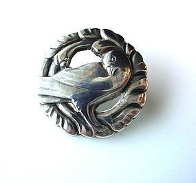 SIGNED STERLING GEORG JENSEN BIRD BROOCH #191