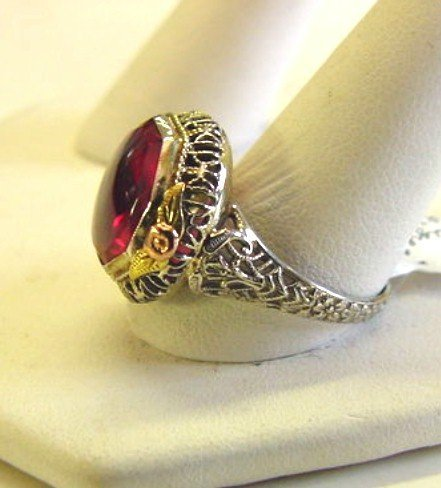 14K WHITE GOLD FILIGREE RING MULTI COLOR ACCENTS