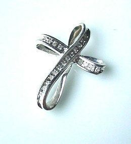 10K DIAMONDS & WHITE GOLD CROSS