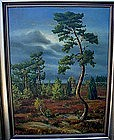 SURREAL OIL PAINTING TREE ON PLAIN BY NEPOLSKY LISTED