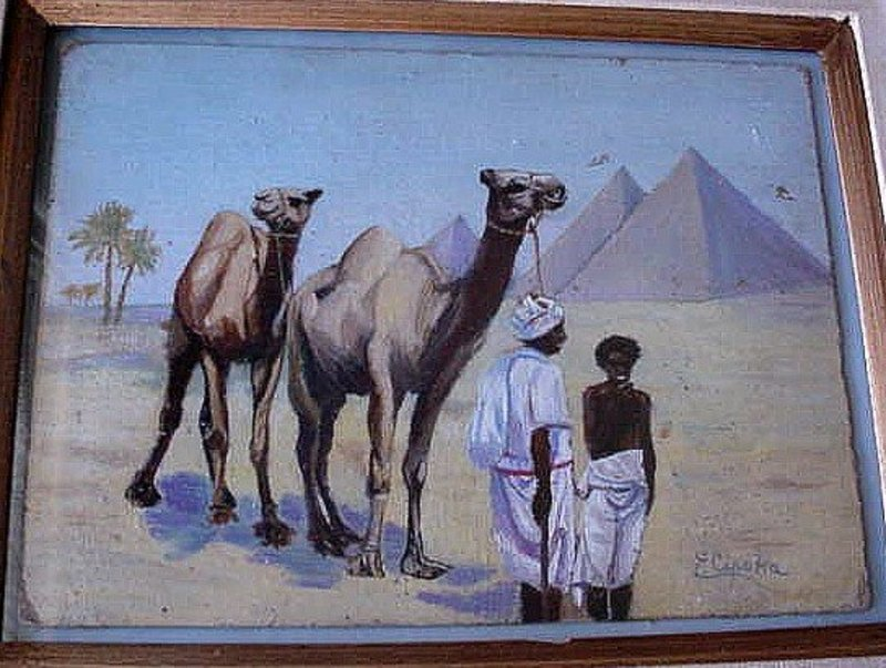 ORIENTALIST OIL ON BOARD 2 MEN & PYRAMIDS F.CIPOLLA LISTED