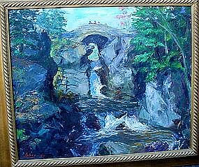 A.W.LAHEE.. OIL ON CANVAS WATERFALL SCENE LISTED ARTIST