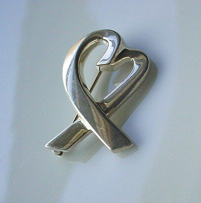 PALOMA PICASSO TIFFANY STERLING HEART BROOCH