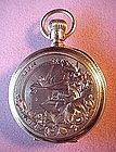 LADIES PENDANT~POCKET WATCH{14K HUNTER'S CASE