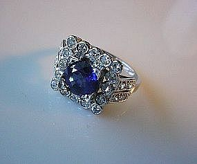 BEAUTIFUL ART DECO PLATINUM DIAMOND & SAPPHIRE RING
