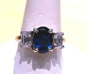 PLATINUM & DIAMONDS with 2 CARAT OVAL SAPPHIRE RING