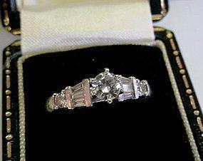PLATINUM DIAMOND ENGAGEMENT RING 1/3 CT CENTER DIAMOND