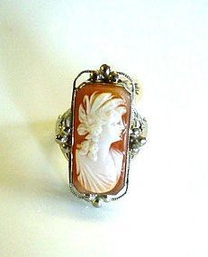 14K WHITE GOLD ART DECO ERA CAMEO RING