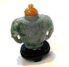 CHINESE CARVED JADE 2 ELEPHANTS SNUFF BOTTLE