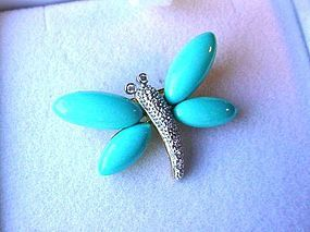 18K GOLD... PAVE DIAMONDS... PERSIAN TURQUOISE DRAGONFLY BROOCH