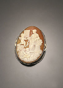 ART DECO 14K CAMEO BROOCH WITH VENUS & 2 ANGELS
