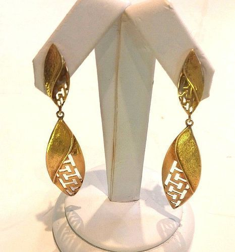 VINTAGE 1980 DRAMATIC 14K GOLD DROP EARRINGS