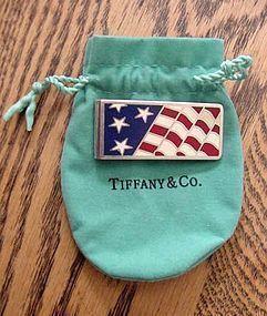 TIFFANY & CO RED WHITE BLUE ENAMEL FLAG MONEY CLIP 925