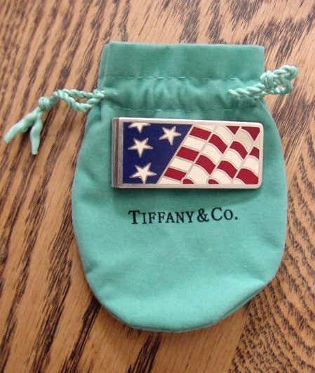 TIFFANY & CO RED WHITE BLUE ENAMEL FLAG MONEY CLIP 925