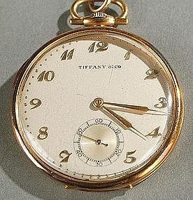 OUTSTANDING TIFFANY & CO 18K GOLD CASE POCKET WATCH