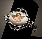 Victorian 14K YG Bangle Bracelet RAPHAEL ANGEL Plaque