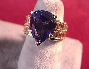 Spectacular 7CT+ TANZANITE PEAR & DIAMS RING