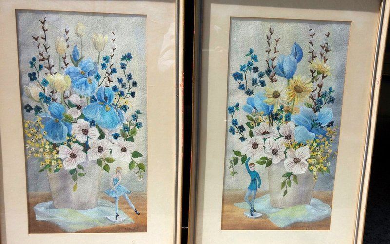 PAIR WATERCOLORS R.E. HOLMES SAN FRANCISCO, LISTED CALIFORNIA ARTIST