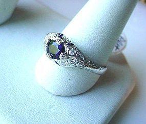 ART DECO PLATINUM SAPPHIRE DIAMOND FILIGREE RING