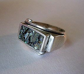 STERLING & ABALONE GENT'S LOS BALLESTEROS RING