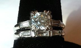 ESTATE PLATINUM DIAMOND ENGAGEMENT RING & BAND .60 CT CENTER DIAMOND
