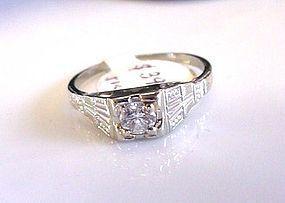 14K WHITE GOLD ART DECO DIAMOND ENGAGEMENT RING