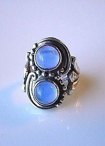 MARGOT DE TAXCO STERLING RING w RAINBOW MOONSTONES