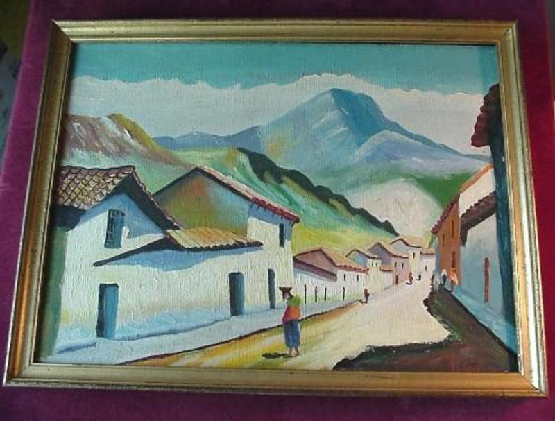 South American VILLAGE SCENE { signed OC