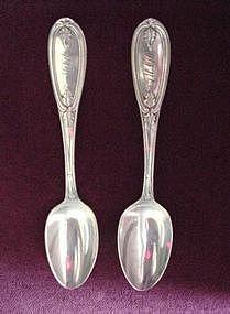 Pr ANTIQUE Silver SPOONS{N.E.CRITTENDEN 1845