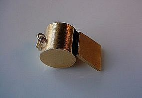 18K GOLD LARGE SIZE WHISTLE CHARM
