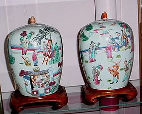 PAIR CHINESE POLYCHROME PORCELAIN COVERED JARS ca.1925
