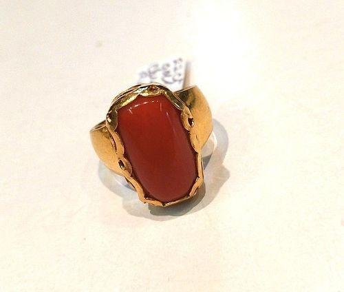 OUTSTANDING RED CORAL IN 22K RING FILIGREE MOUNTING