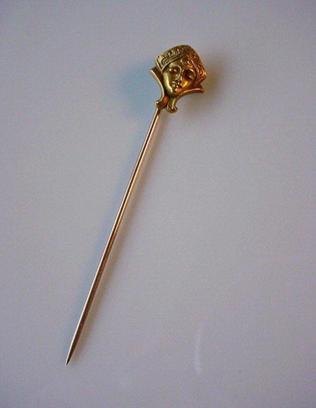 14K ART NOUVEAU GOLD STICK PIN... FACE OF A LADY