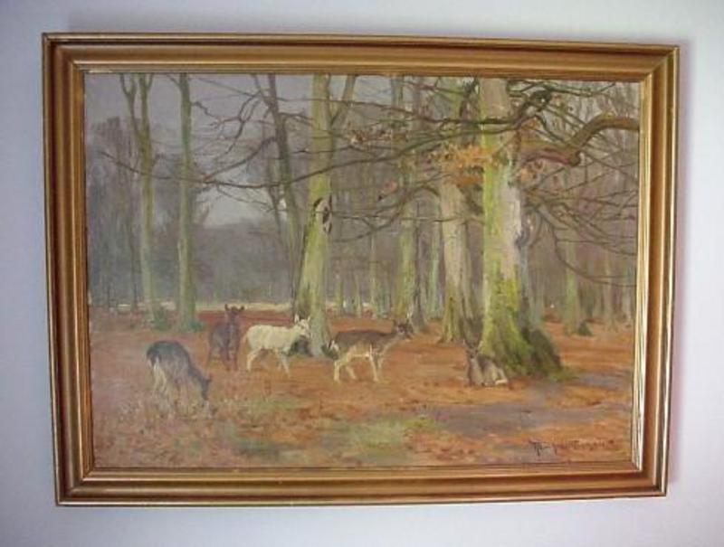 OIL ON CANVAS DEER IN A FOREST R. NIELSEN LISTED ARTIST