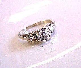 ONE CARAT TDW OLD EUROPEAN CUT DIAMONDS ENGAGEMENT RING