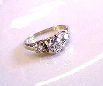 ONE CARAT TDW OLD EUROPEAN CUT DIAMONDS ENGAGEMENT RING