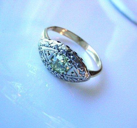 ANTIQUE ART DECO FANCY YELLOW DIAMOND RING .55 OLD EUROPEAN CUT