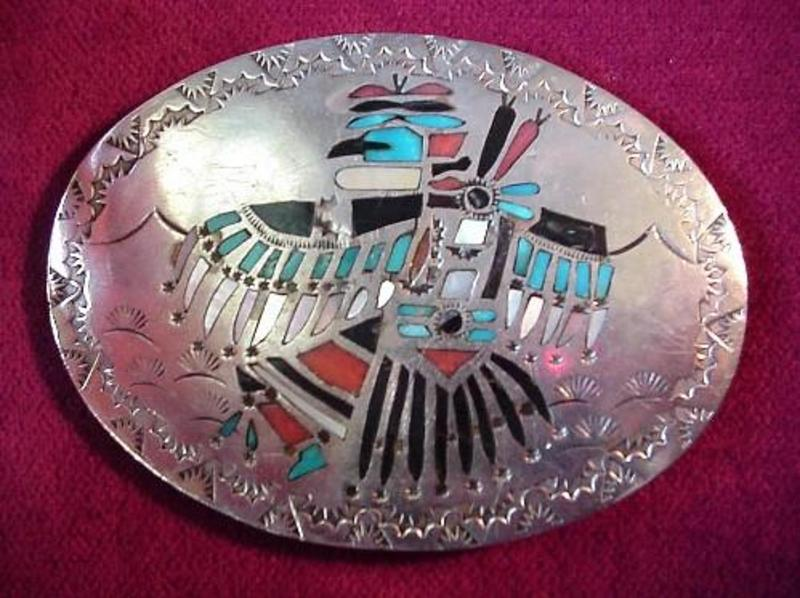 Great Native American SILVER ZUNI BUCKLE