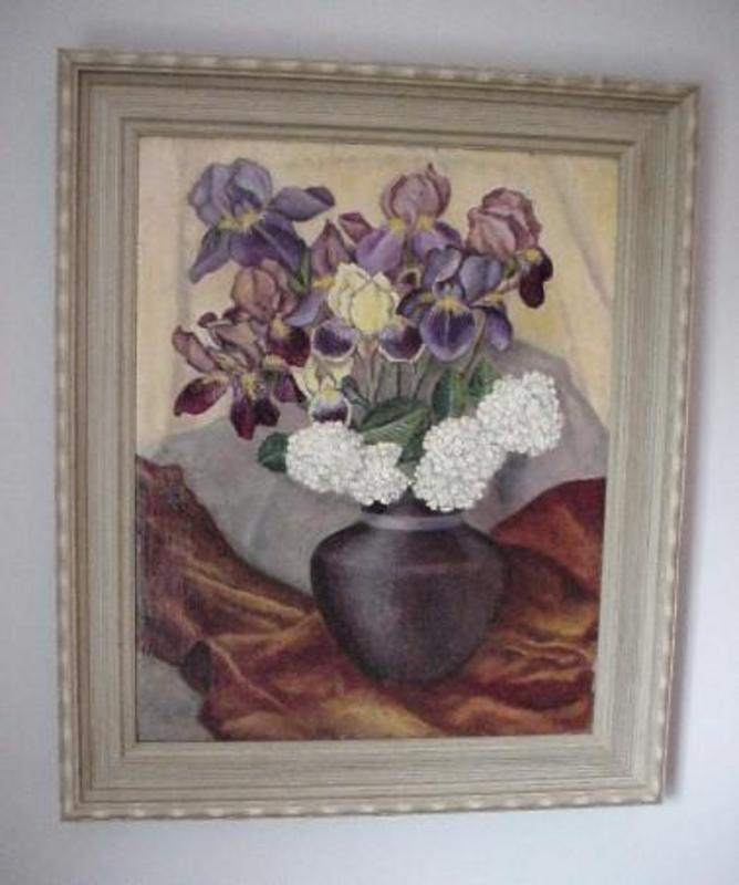 Painted FLOWERS IN A VASE CARL BUCK 1935 LISTED ARTIST