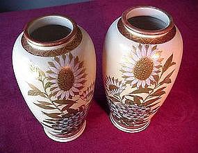 Pair of SATSUMA VASES { SUNFLOWERS ca 1900