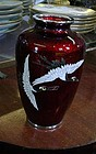 FLYING CRANES VASE RED GROUND SILVER CLOISONNE JAPAN