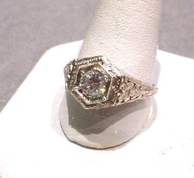 14K DIAMOND FILIGREE RING ca. 30's 40's