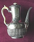 SP COFFEEPOT SILVER OVER BRASS WITH IVORY HANDLE.. 1893
