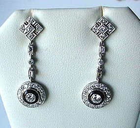 Pr. PLATINUM DIAMOND ONYX EARRINGS Virginia, USA Estate